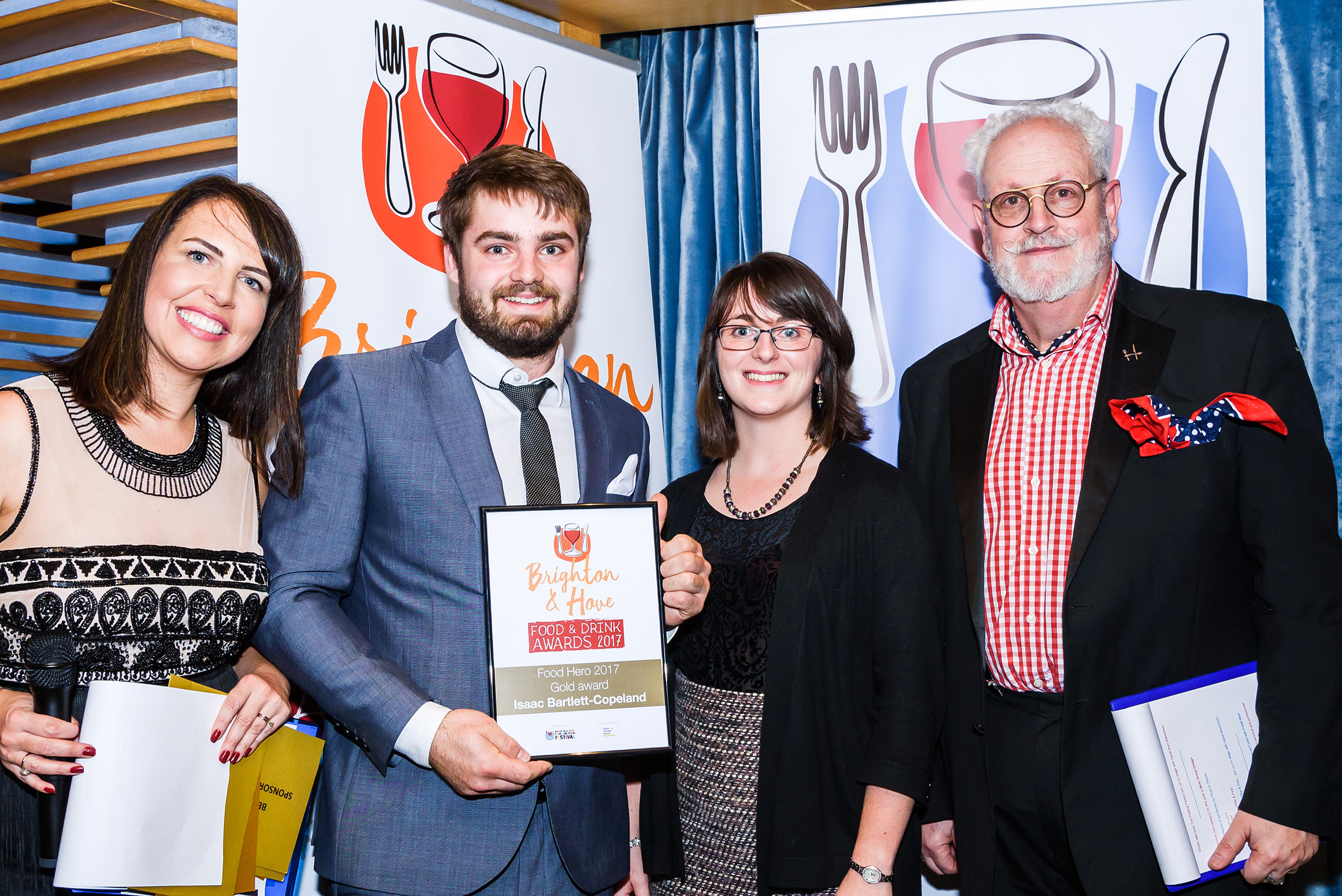 Isaac Bartlett Copeland of Isaac At  winner of Food Hero atthe 2017  Brighton and Hove food awards  Photo Julia Claxton