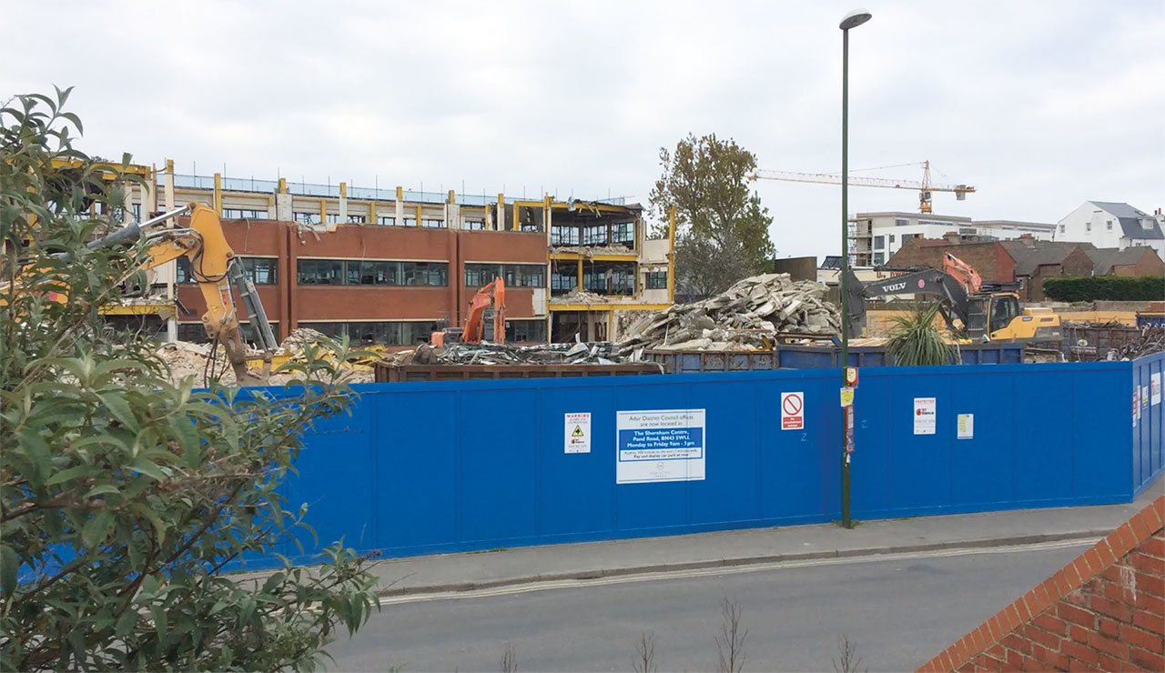 Adur Civic Centre being demolished